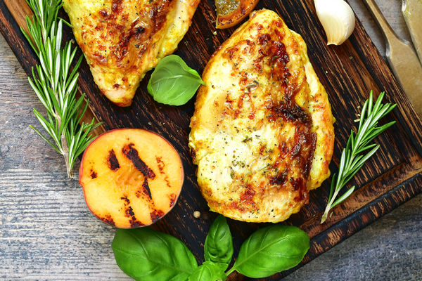 Basil-Garlic Chicken Breasts with Grilled Balsamic Apricots