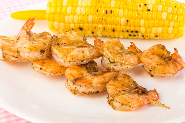 Tortilla Sandwiches of Grilled Shrimp and Corn with Goat Cheese and Pickled Red Onions
